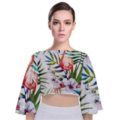 Rose Flamingo Tie Back Butterfly Sleeve Chiffon Top by goljakoff