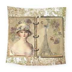 Vintage Design   Paris Square Tapestry (large) by WensdaiAddamns