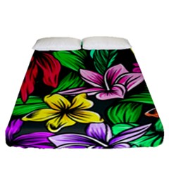 Neon Hibiscus Fitted Sheet (queen Size)