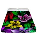 Neon Hibiscus Fitted Sheet (Queen Size) View1