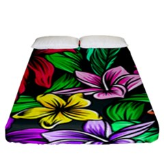 Neon Hibiscus Fitted Sheet (king Size)