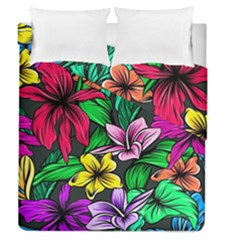 Neon Hibiscus Duvet Cover Double Side (queen Size)