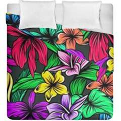 Neon Hibiscus Duvet Cover Double Side (king Size)