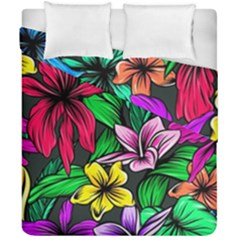 Neon Hibiscus Duvet Cover Double Side (california King Size)