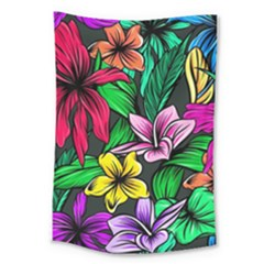 Neon Hibiscus Large Tapestry