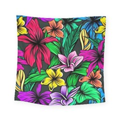 Neon Hibiscus Square Tapestry (small)