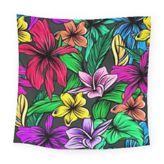 Neon Hibiscus Square Tapestry (large)