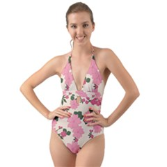 Floral Vintage Flowers Wallpaper Halter Cut Out One Piece Swimsuit by Mariart