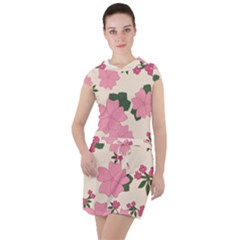 Floral Vintage Flowers Wallpaper Drawstring Hooded Dress by Mariart
