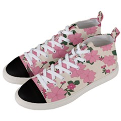 Floral Vintage Flowers Wallpaper Men s Mid-top Canvas Sneakers by Mariart
