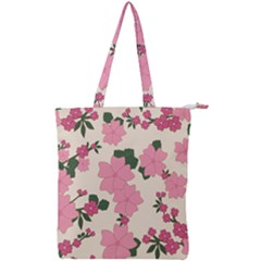 Floral Vintage Flowers Wallpaper Double Zip Up Tote Bag