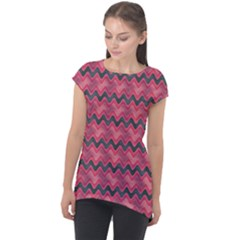 Chevron Wave Cap Sleeve High Low Top