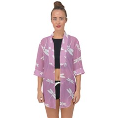 Dragonflies Pattern Open Front Chiffon Kimono by Valentinaart
