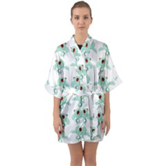 Squidward In Repose Pattern Quarter Sleeve Kimono Robe by Valentinaart