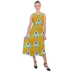 Squidward In Repose Pattern Midi Tie Back Chiffon Dress by Valentinaart