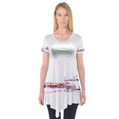 Pink And Purple Santa Monica Pier Silhouette Short Sleeve Tunic  by pier