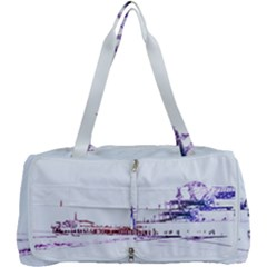 Pink And Purple Santa Monica Pier Silhouette Multi Function Bag by pier