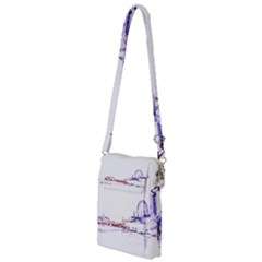 Pink And Purple Santa Monica Pier Silhouette Multi Function Travel Bag by pier