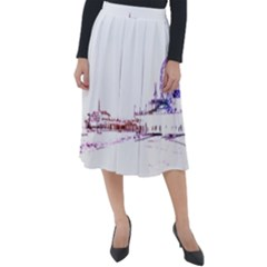 Pink And Purple Santa Monica Pier Silhouette Classic Velour Midi Skirt  by pier