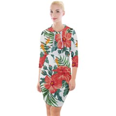 Red Flowers Quarter Sleeve Hood Bodycon Dress by goljakoff