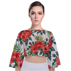 Red Flowers Tie Back Butterfly Sleeve Chiffon Top by goljakoff