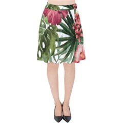 Monstera Flowers Velvet High Waist Skirt by goljakoff