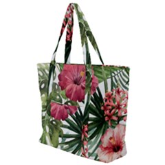 Monstera Flowers Zip Up Canvas Bag