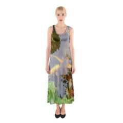 Koi Fish Pond Sleeveless Maxi Dress