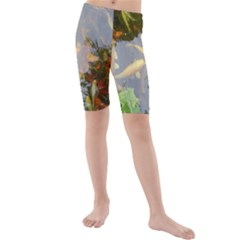 Koi Fish Pond Kids  Mid Length Swim Shorts