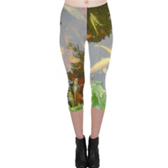 Koi Fish Pond Capri Leggings