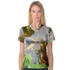 Koi Fish Pond V Neck Sport Mesh Tee