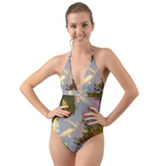 Koi Fish Pond Halter Cut Out One Piece Swimsuit