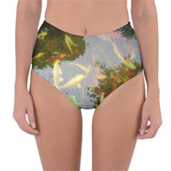 Koi Fish Pond Reversible High Waist Bikini Bottoms