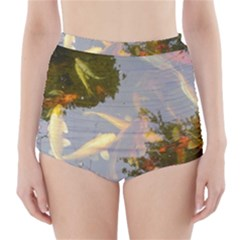 Koi Fish Pond High Waisted Bikini Bottoms