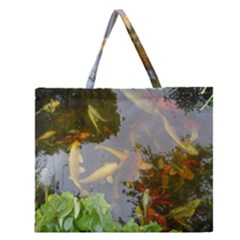 Koi Fish Pond Zipper Large Tote Bag