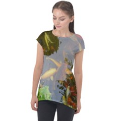 Koi Fish Pond Cap Sleeve High Low Top
