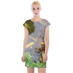 Koi Fish Pond Cap Sleeve Bodycon Dress