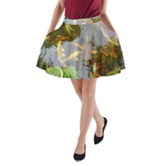 Koi Fish Pond A Line Pocket Skirt