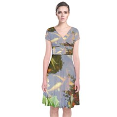 Koi Fish Pond Short Sleeve Front Wrap Dress