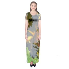 Koi Fish Pond Short Sleeve Maxi Dress