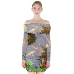 Koi Fish Pond Long Sleeve Off Shoulder Dress