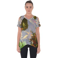 Koi Fish Pond Cut Out Side Drop Tee