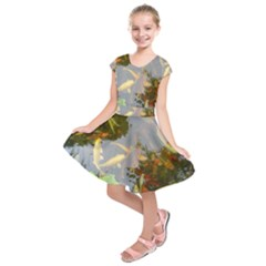 Koi Fish Pond Kids  Short Sleeve Dress