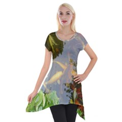 Koi Fish Pond Short Sleeve Side Drop Tunic