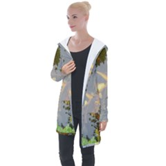 Koi Fish Pond Longline Hooded Cardigan