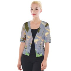 Koi Fish Pond Cropped Button Cardigan