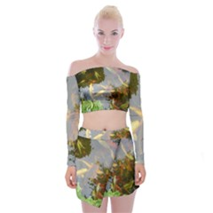 Koi Fish Pond Off Shoulder Top With Mini Skirt Set