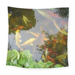 Koi Fish Pond Square Tapestry (large)