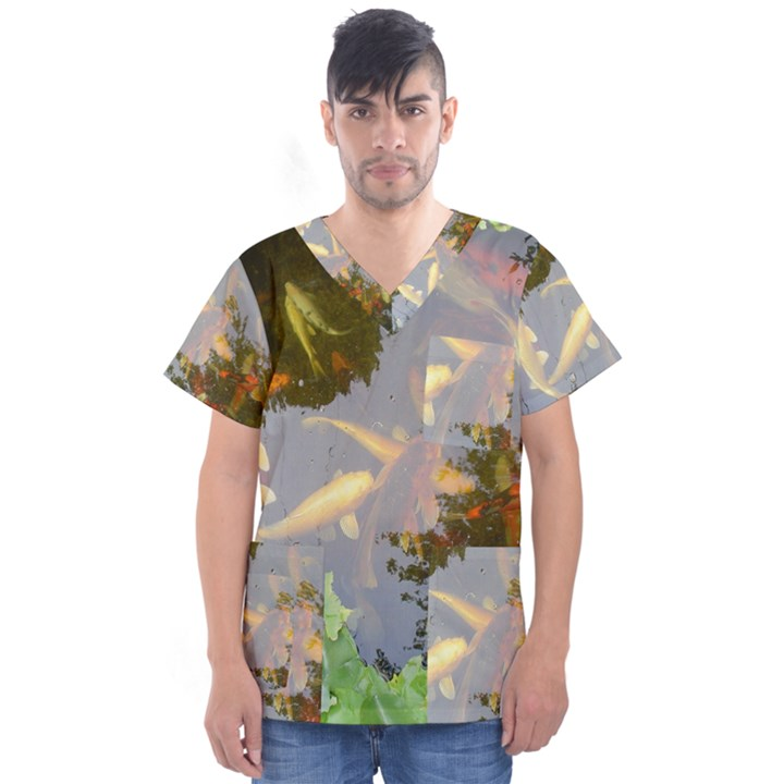 Koi Fish Pond Men s V-Neck Scrub Top