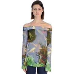 Koi Fish Pond Off Shoulder Long Sleeve Top